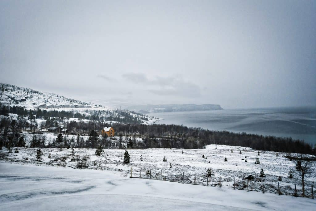 Alta in Arctic Norway covered in snow