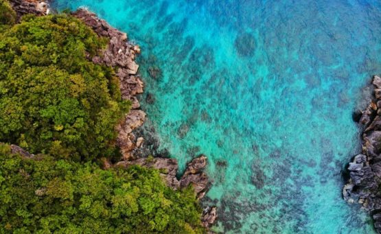 aerial view of tropical islands and blue waters in caramoan island in philippines