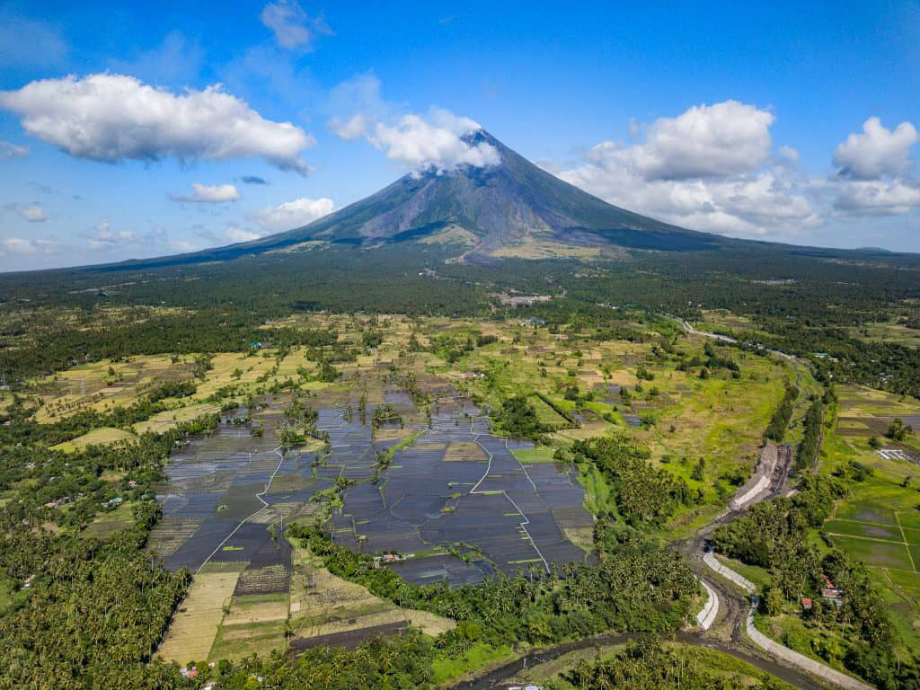 Mount Mayon in Legazpi, is the most active volcano in the philippines and there are rice fields surrounding it