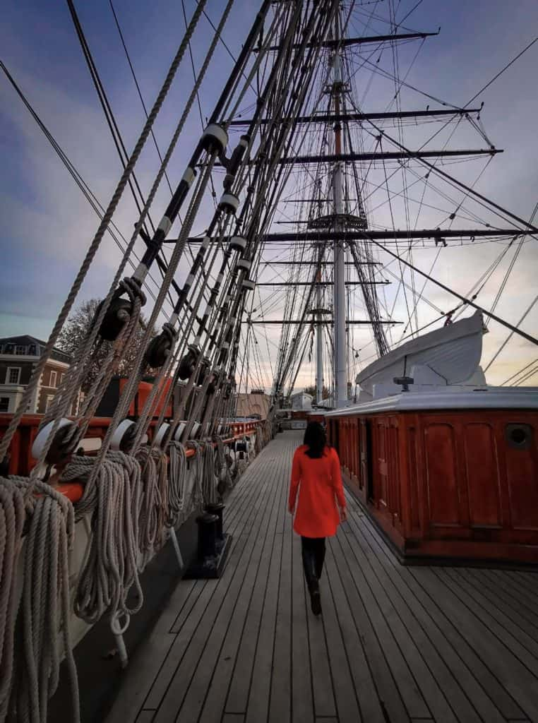 Strolling along the deck of the Cutty Sark in greenwich