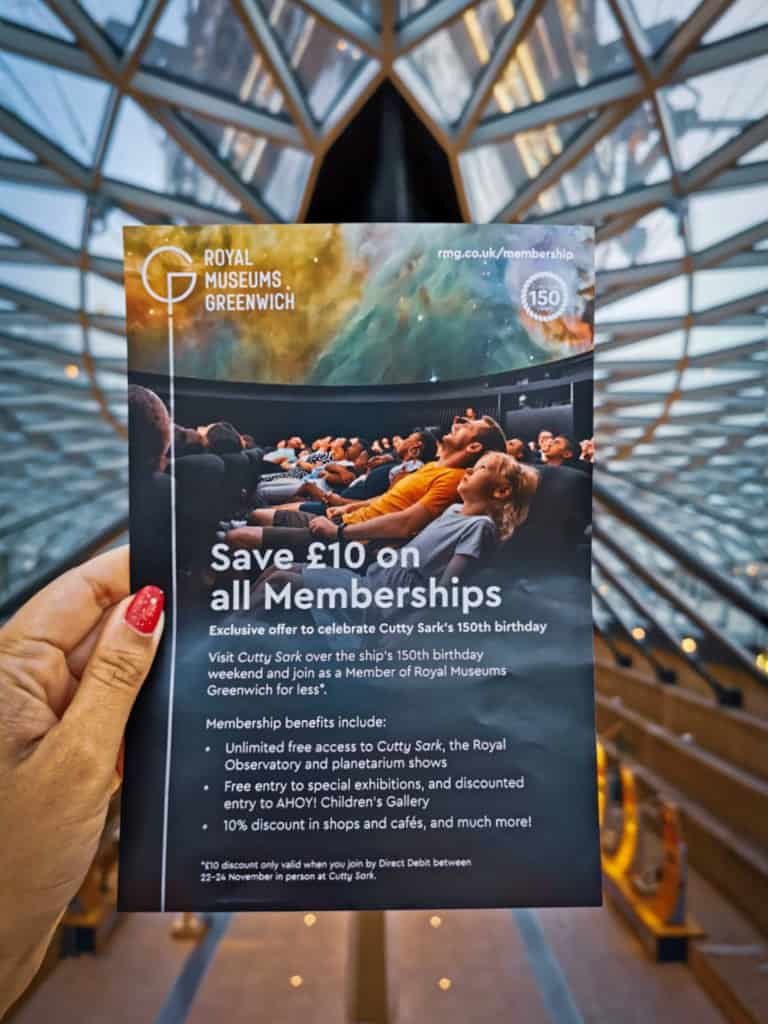 Membership offers on Cutty Sark