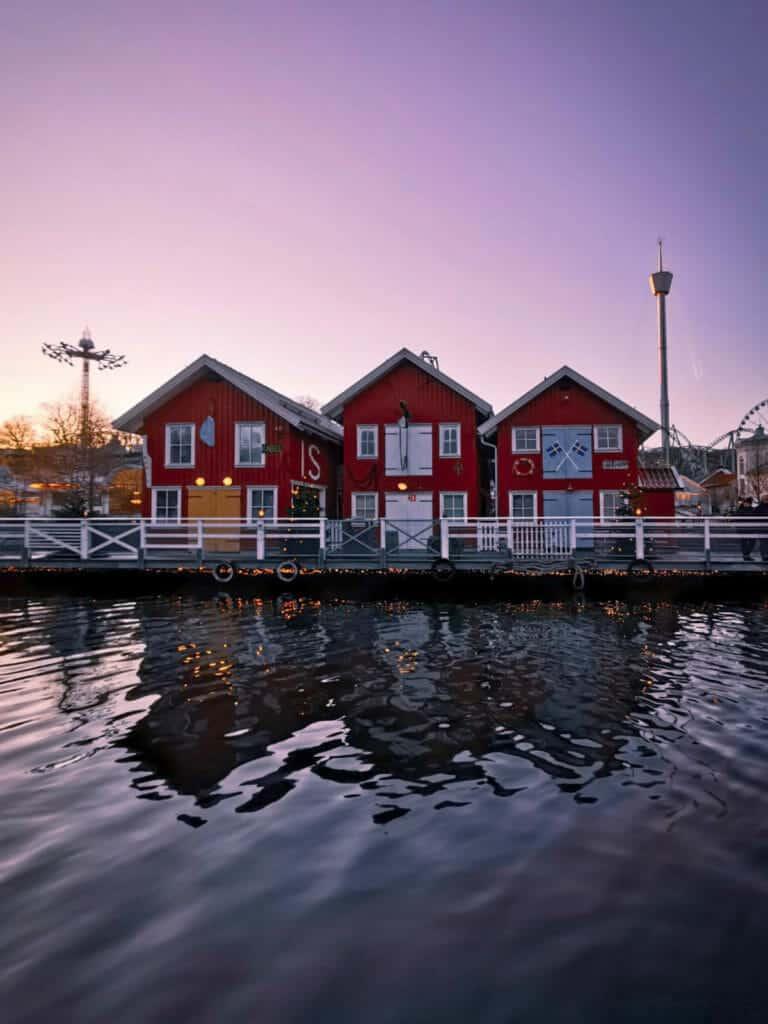 Red houses at sunset in Liseberg Christmas Market