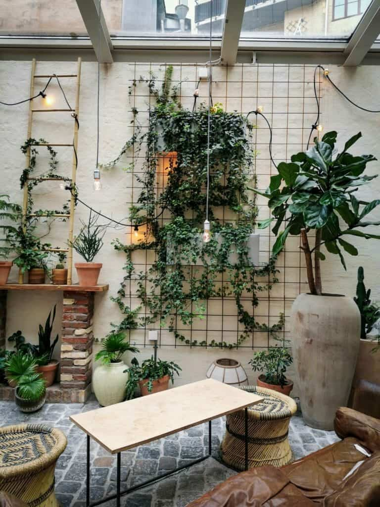 organically decorated walls of the orangery in Gothenburg