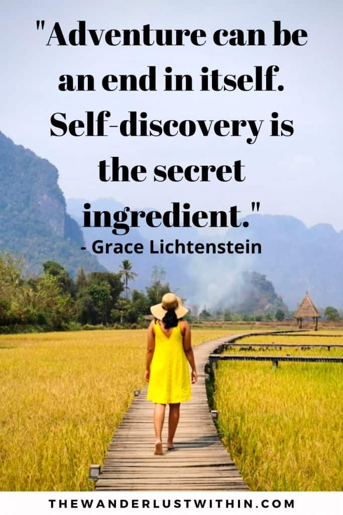 motivational and inspiration travel solo quote saying Adventure can be an end in itself. Self-discovery is the secret ingredient by Grace Lichtenstein, with a girl in yellow dress walking through yellow rice fields in laos travelling alone