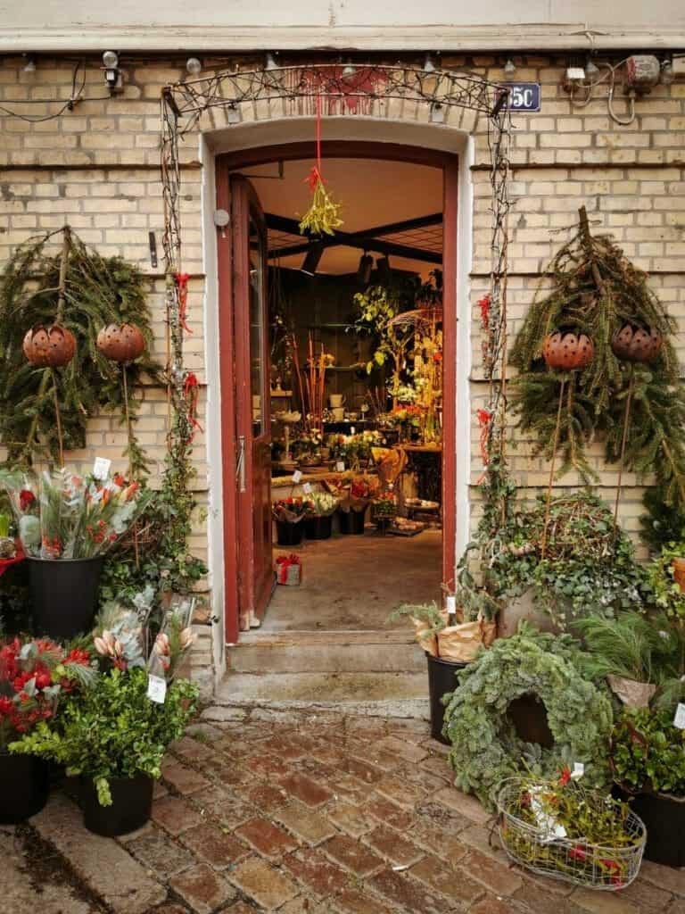 Doorway of a flower shop in Haga Christmas Market