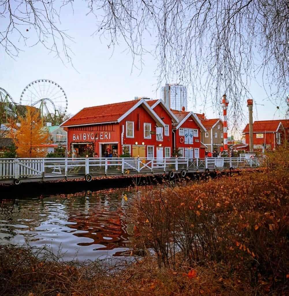 Red houses at the Liseberg Christmas Market