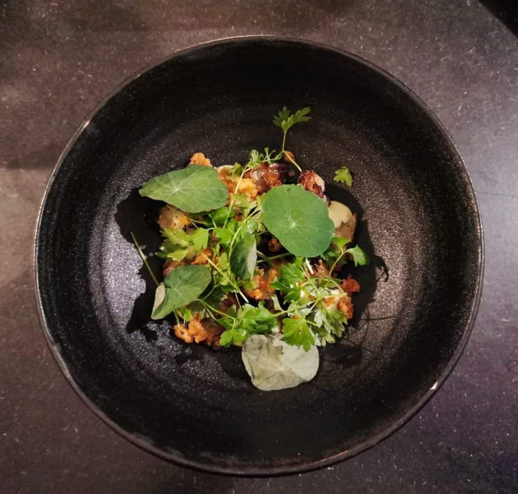 vegan food on plate at Garden in Gothenburg