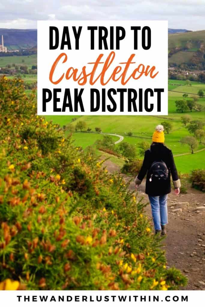 girl in yellow hat walks along hiking route in mam tor in castleton peak district in autumn with yellow gorse and green fields in background in peak district