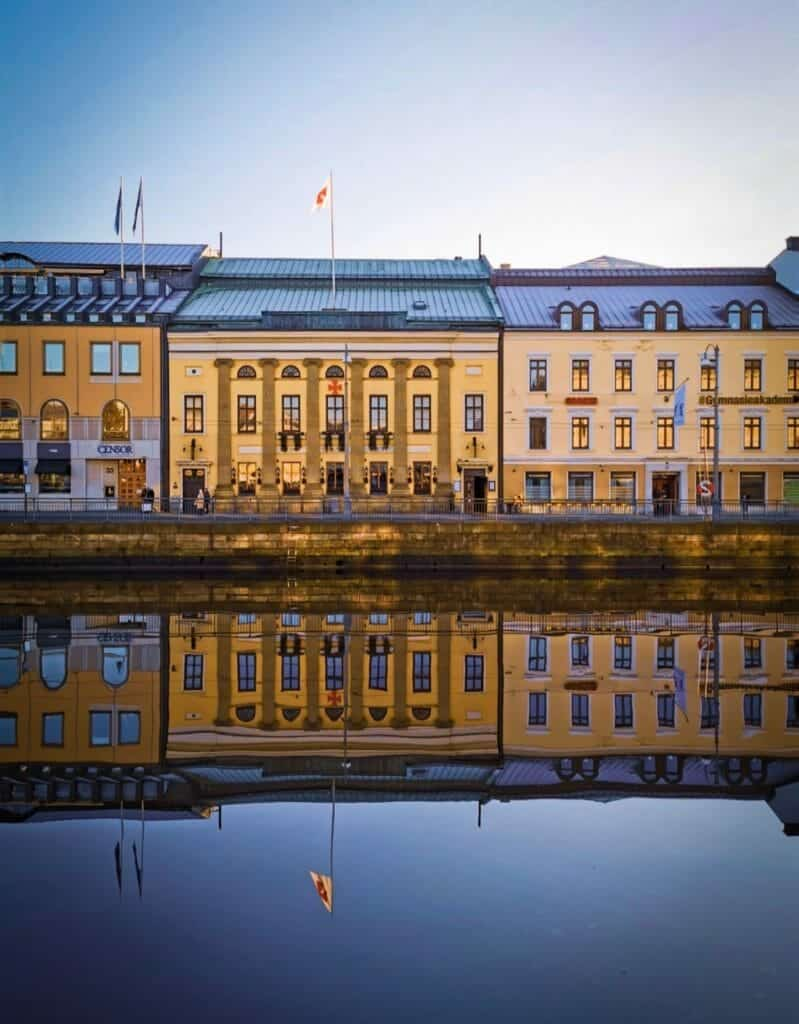 Colourful houses reflected in Gothenburg river in Sweden