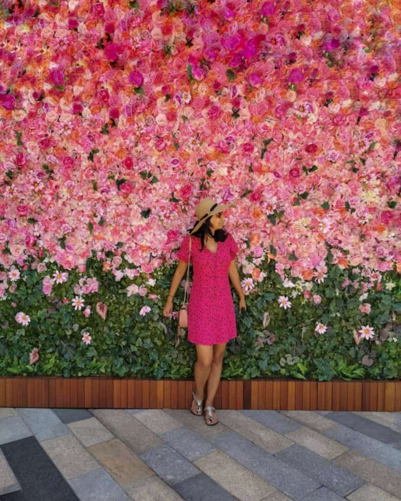 girl in pink dress blending into a pink flower wall in London