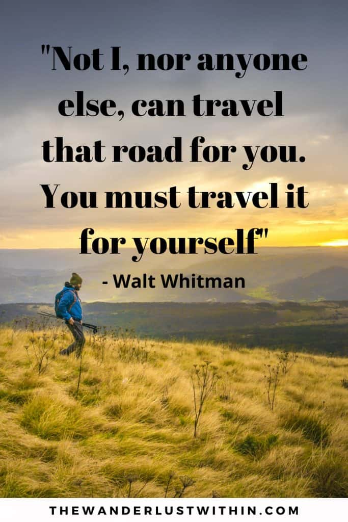 motivational inspirational solo travel quote saying Not I, nor anyone else, can travel that road for you. You must travel it for yourself. walt whitman with a man is blue coat traveling solo and hiking in a mountain covered in yellow tall heather with sunset in background