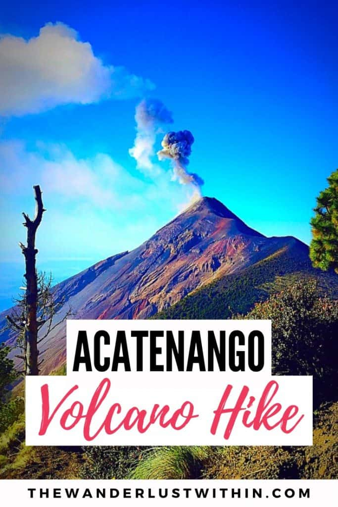 girl with back turned, viewing fuego volcano in front of her from the campsite on acatenango volcano in guatemala