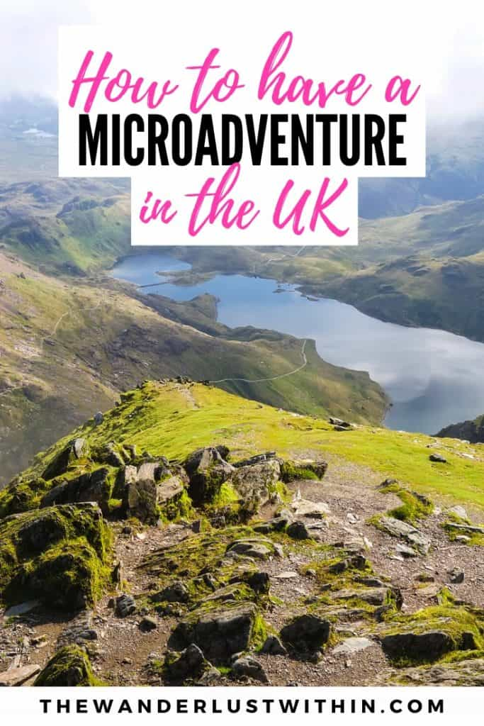 view of hike in lake district in the uk on a micro adventure trip