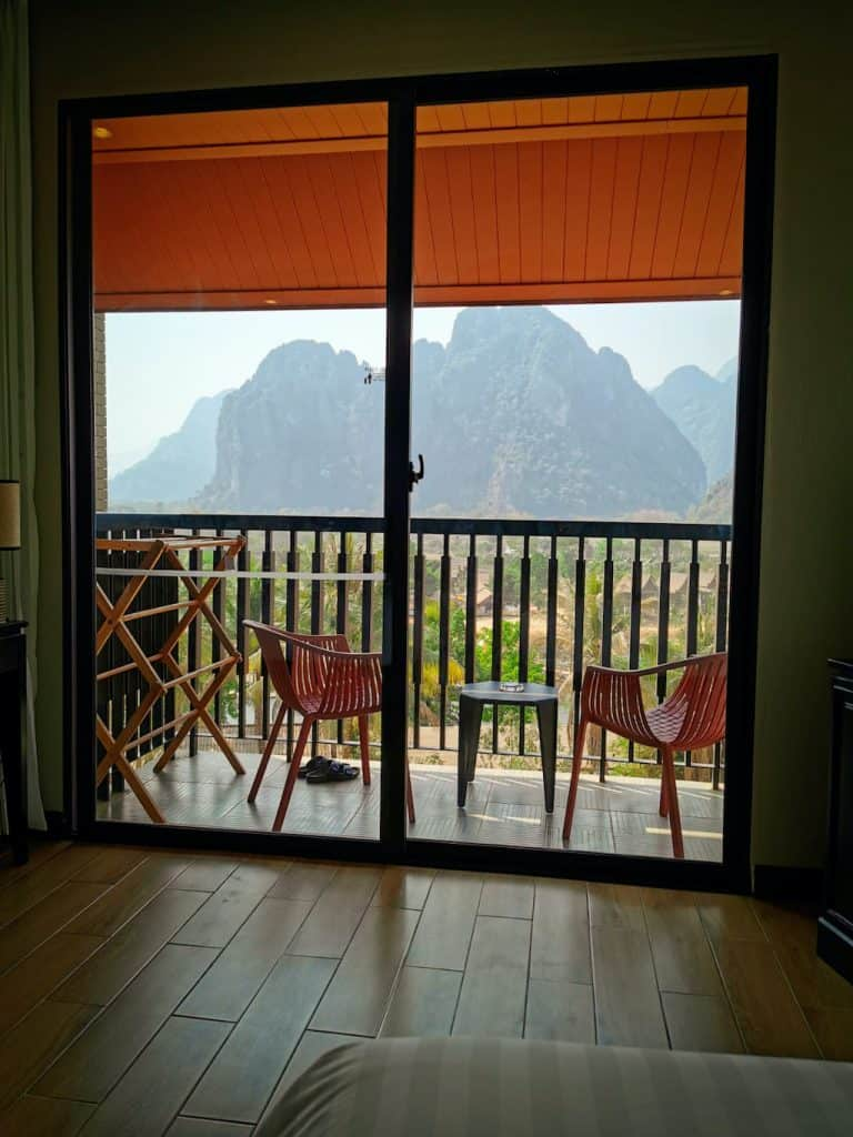 view of balcony in hotel room with mountain view