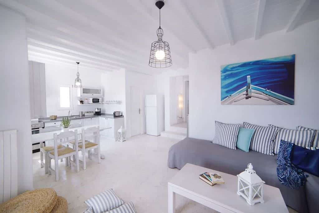 mykonos villas for rent - white decor inside with hints of blue in mykonos greece