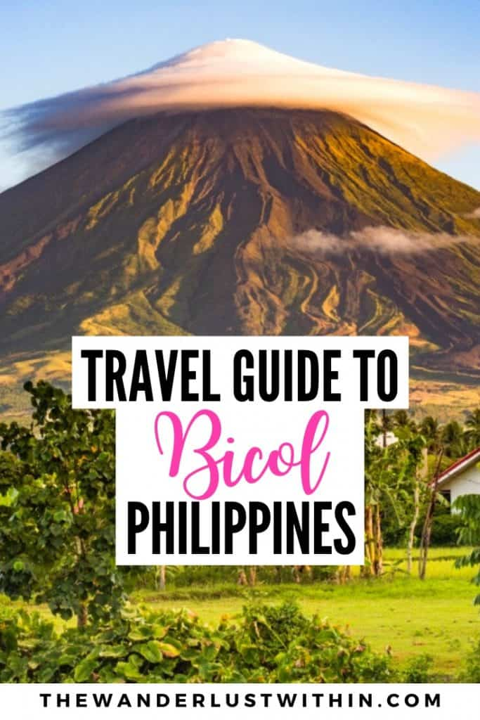 travel guide to Bicol Philippines with view of volcano with cloud on the tip and fields surrounding it in Legazpi City Philippines
