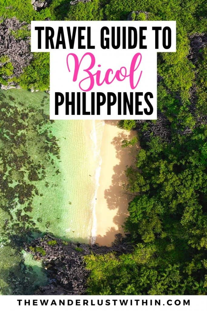 travel guide to Bicol Philippines with aerial view of beach and sea in philippines on tropical deserted island