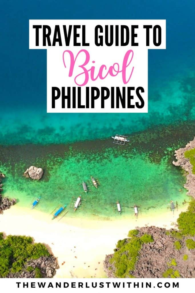 travel guide to Bicol Philippines with aerial view of beach and outriggers at sea in philippines on tropical deserted island