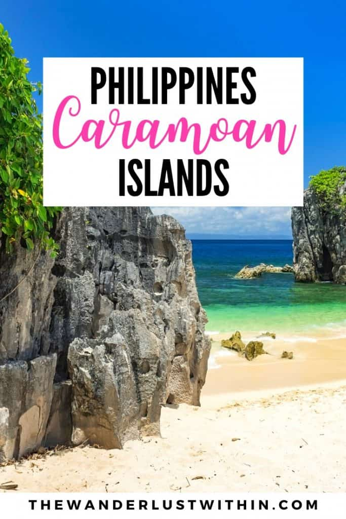 Caramoan Islands in the philippines with white sand, limestone cliffs and tropical clear water in the philippines hidden gem