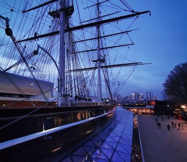 blue hour at the Cutty Sark a big ship in greenwich london