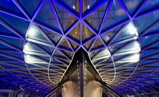 cutty sark ship lit up in blue