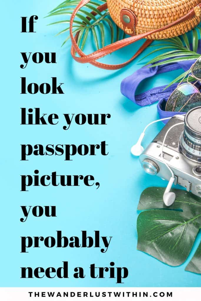 a blue background with travel accesories like bag, camera, palm trees, sunglasses, earphones and a funny adventure quotes If you look like your passport picture, you probably need a trip.