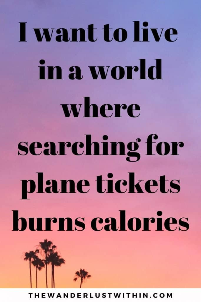 pink and purple sunset with a few palm trees and a funny quotes of travelling saying I want to live in the world where searching for plane tickets burns calories.