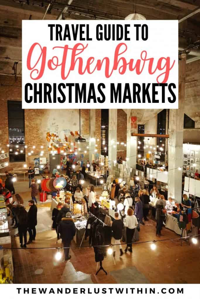 art and design christmas market fair at gothenburg in sweden, view from above with crowds shopping under fairy lights in a warehouse