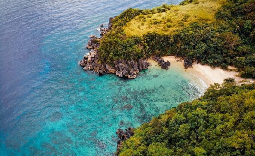 Deserted Island in the Philippines surrounded by Turquoise water called Caramoan Islands in Camarines sur peninsula