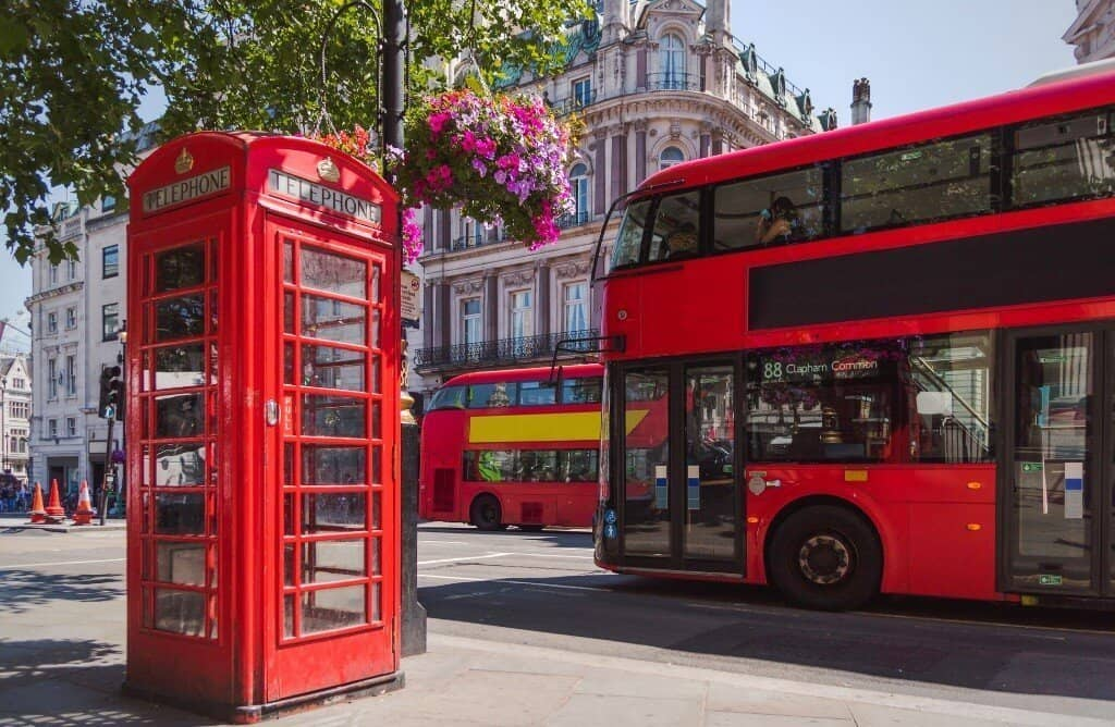 sayings about London with red buses and red phone booths on street