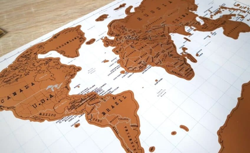 world map with pins