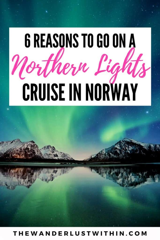 view from cruise ship of mountains and fjords in arctic norway on a northern lights cruise