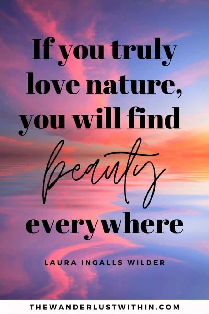 "short quotes about nature - ""If you truly love nature, you will find beauty everywhere."" – Laura Ingalls Wilder"