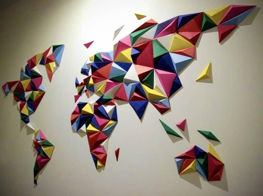 large world map canvas 3d paper