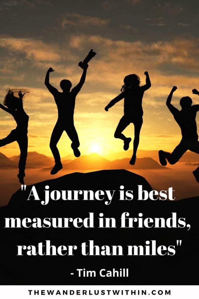 "travel quotes with friends saying ""A journey is best measured in friends, rather than miles."" – Tim Cahill with a silhouette sunset photo of 4 people jumping in the air above mountains with red and yellow sunset colours as they travel with friends"