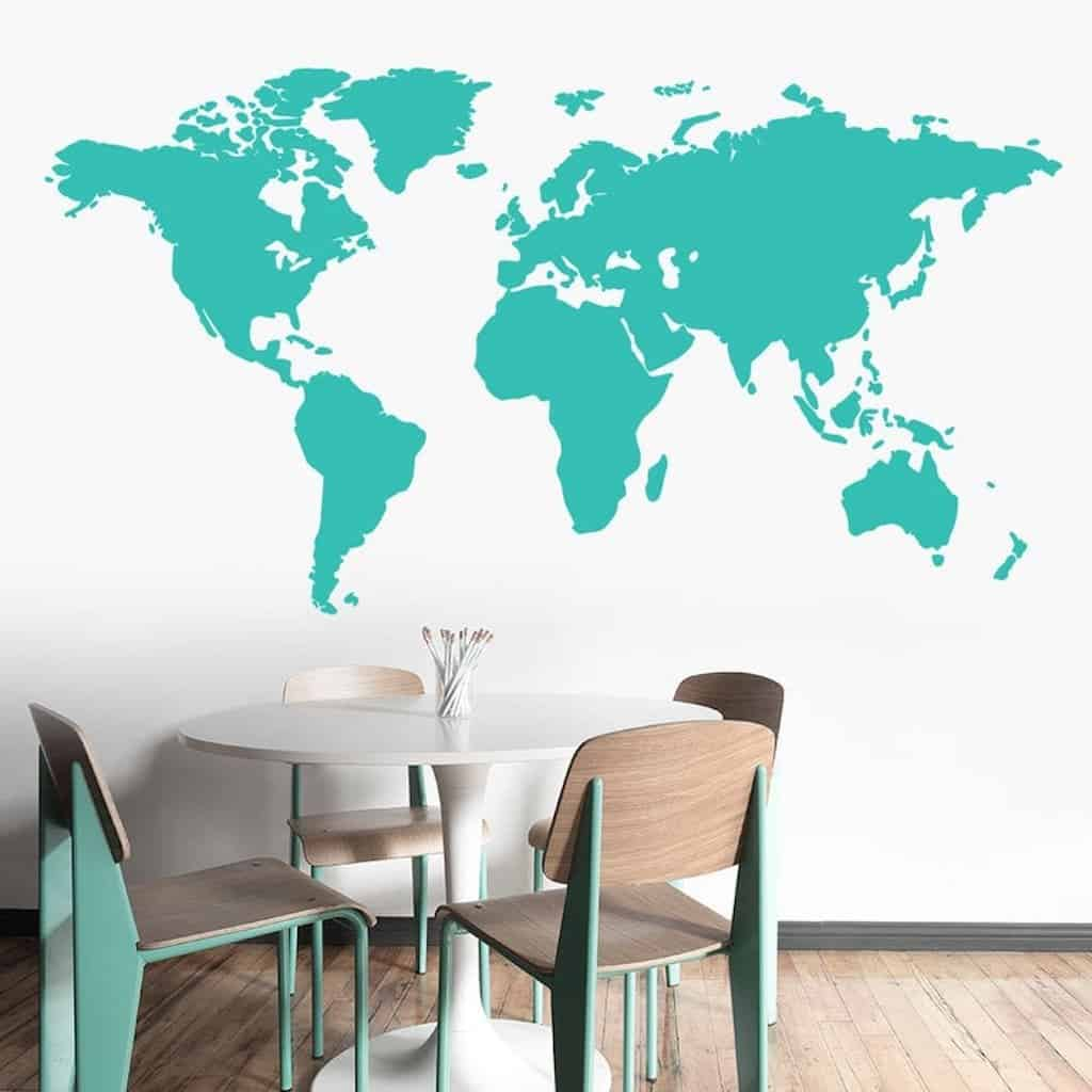 world map wall decal