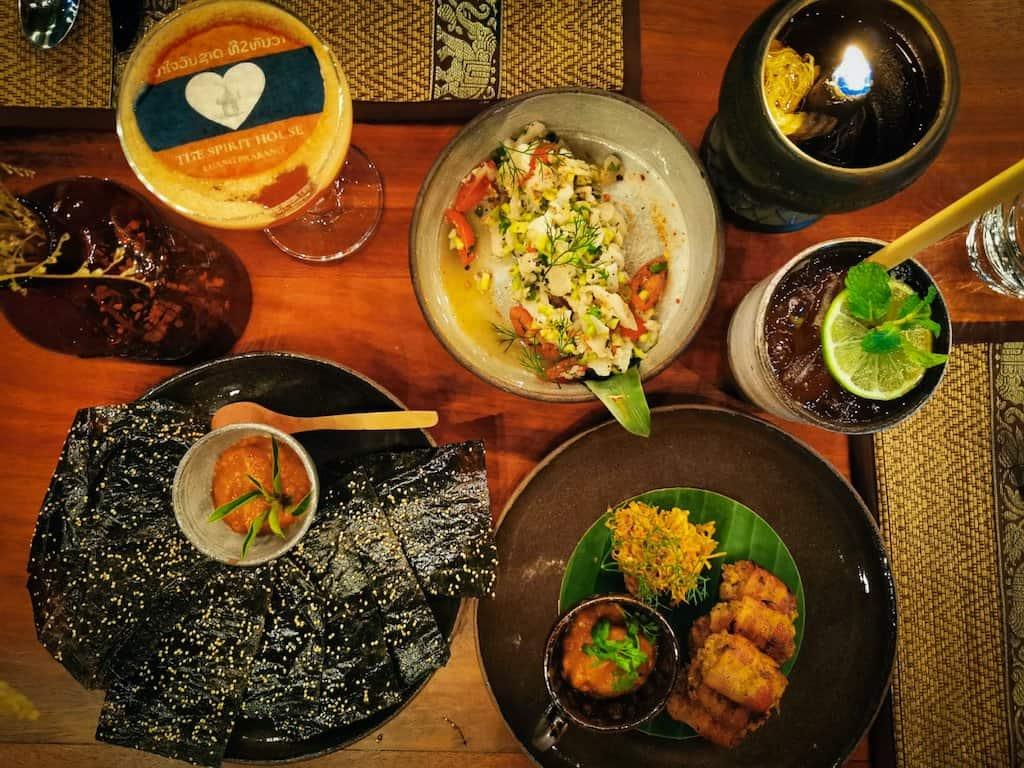 laos food and drinks at the spirit house luang prabang