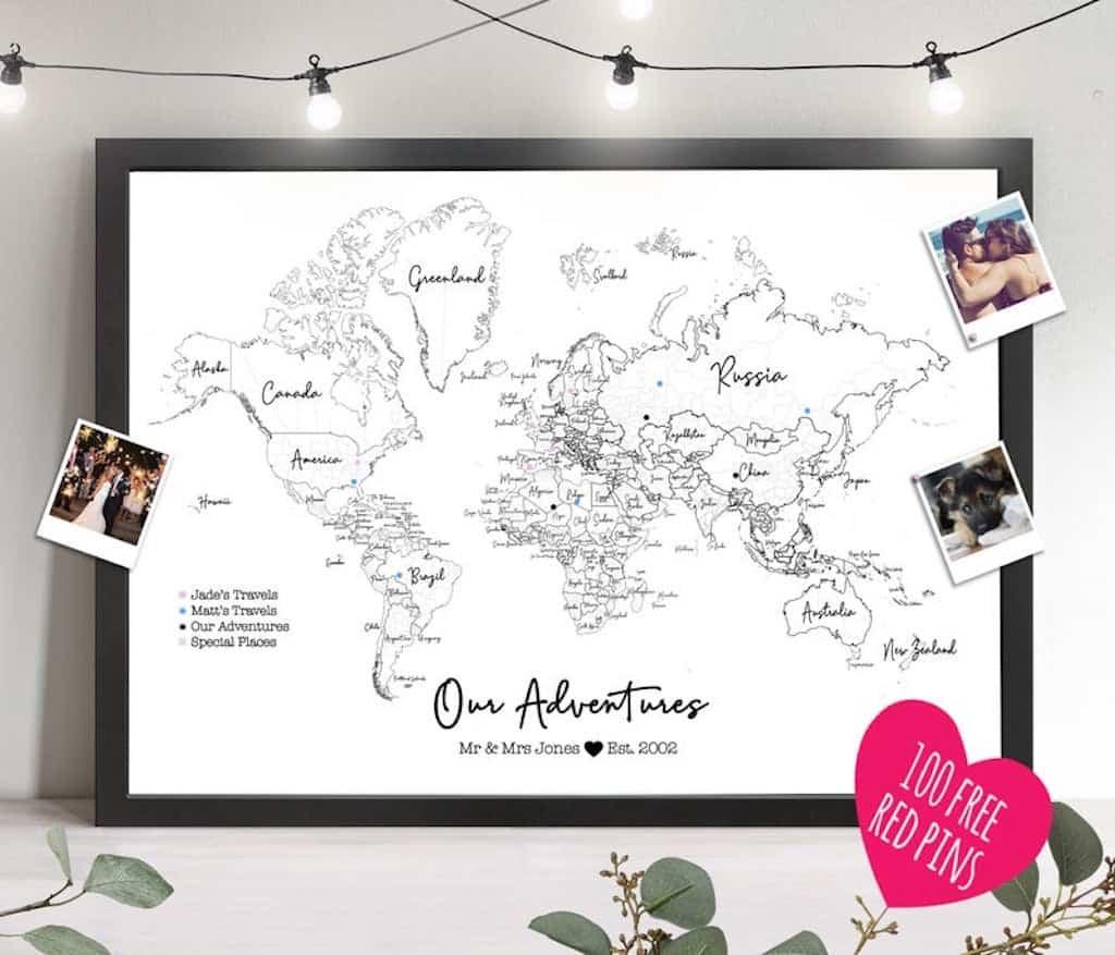 world map framed