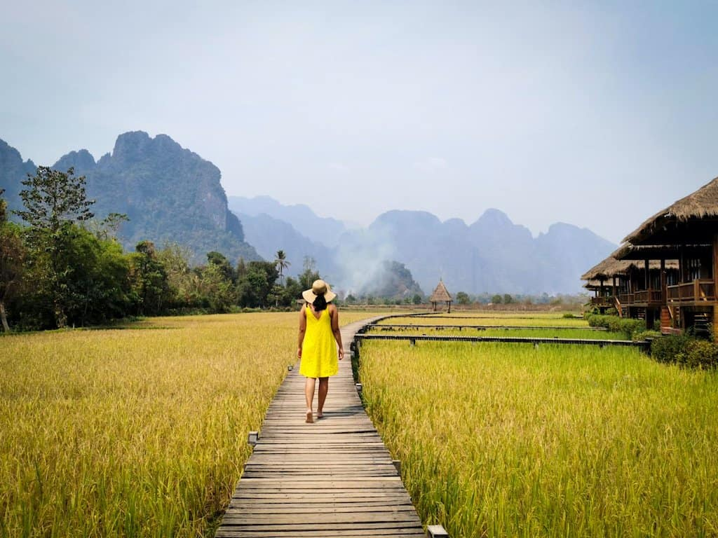 girl in yellow dress walks through yellow rice fields in Vang Vieng Laos with mountains in the background