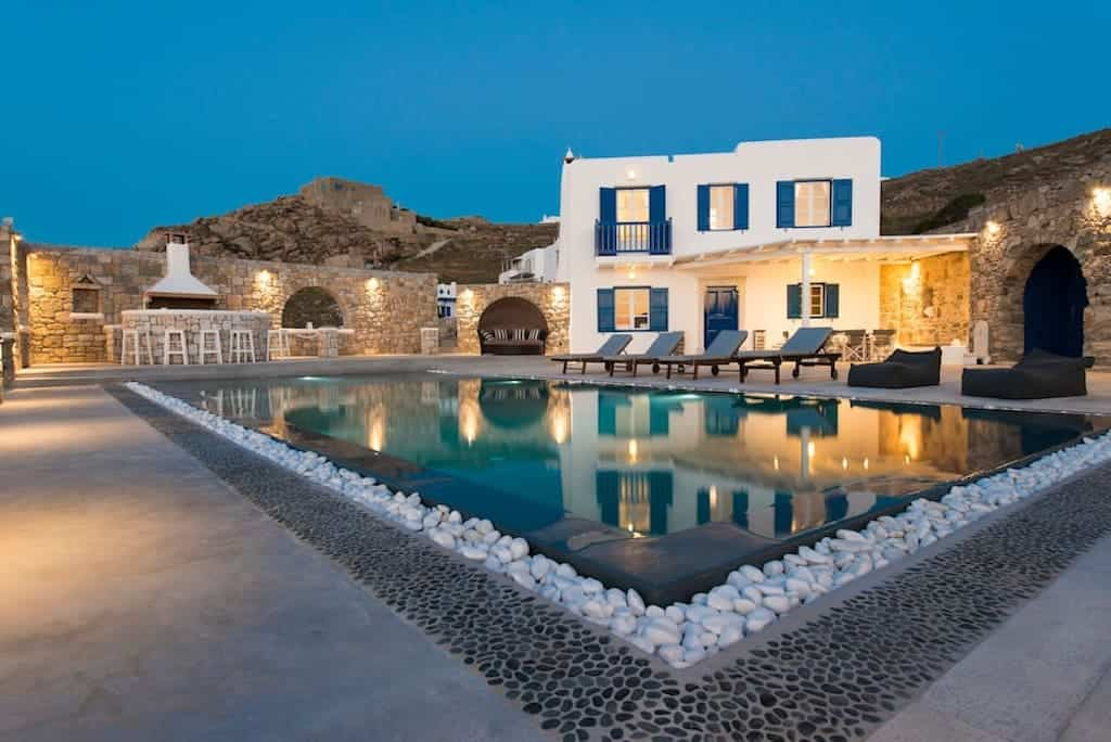 mykonos luxury villa for large group sleeps 12 big outdoor pool and villa