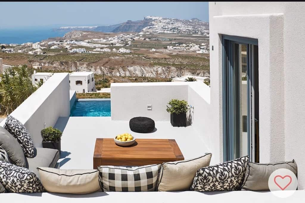 luxury airbnb greece santorini with pool outside with scenic views