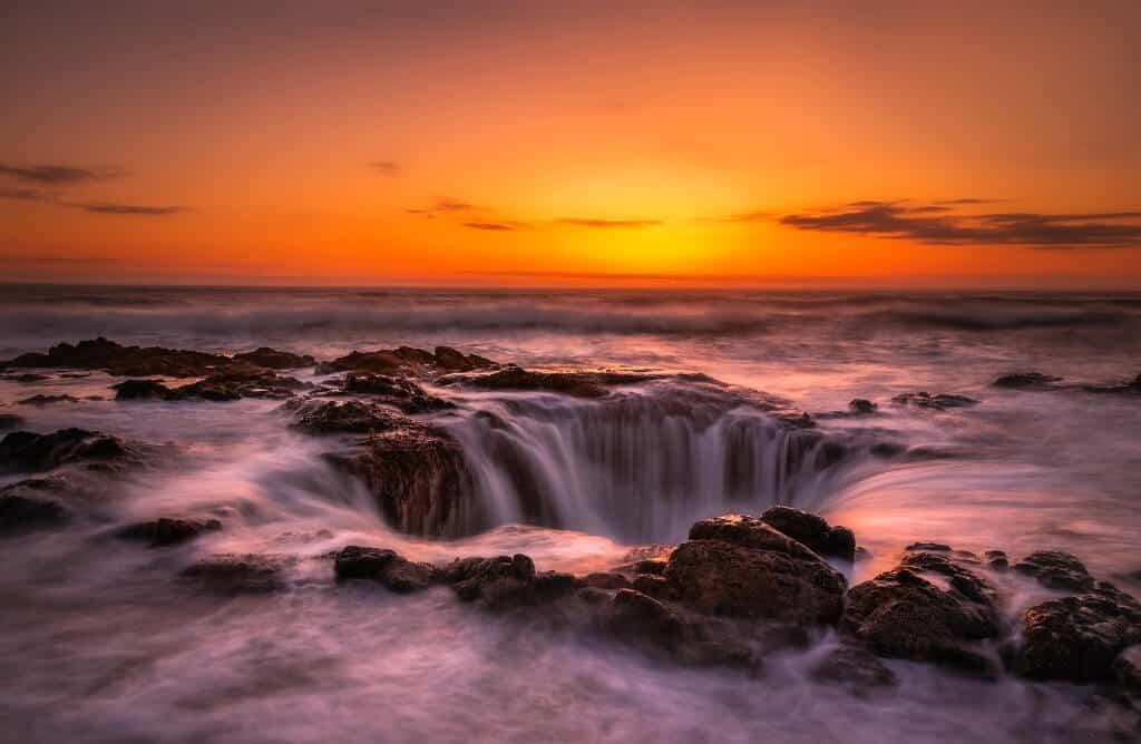 caption on sunset waterfall