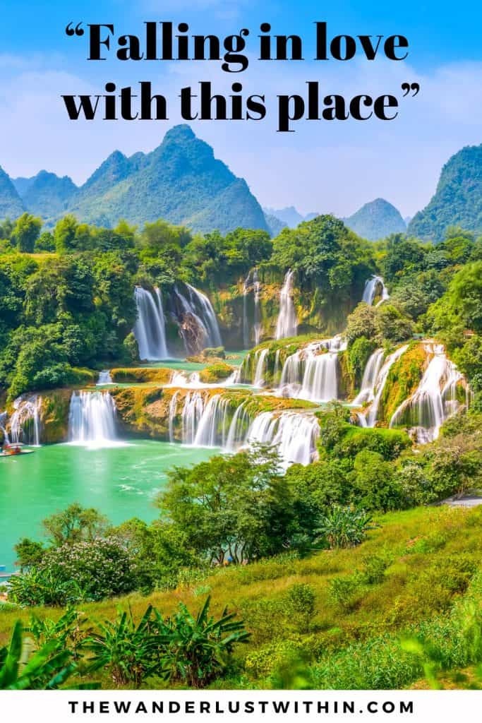 "mountains and many waterfalls with greenery surrounding it. waterfall quote says ""Falling in love with this place"""