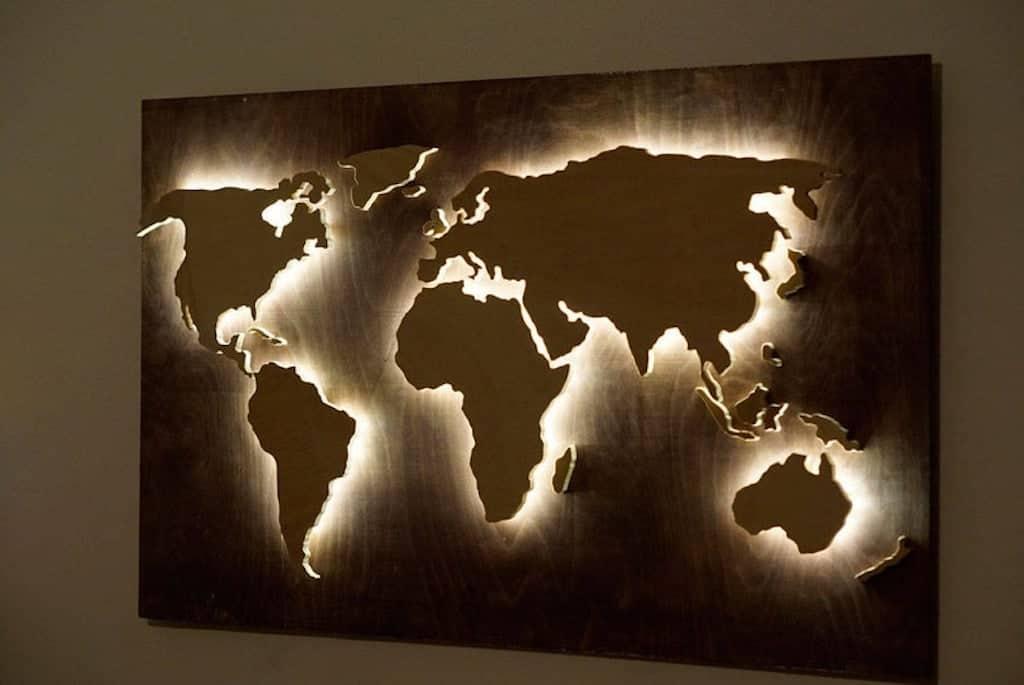 LED map wall decor wood world map art