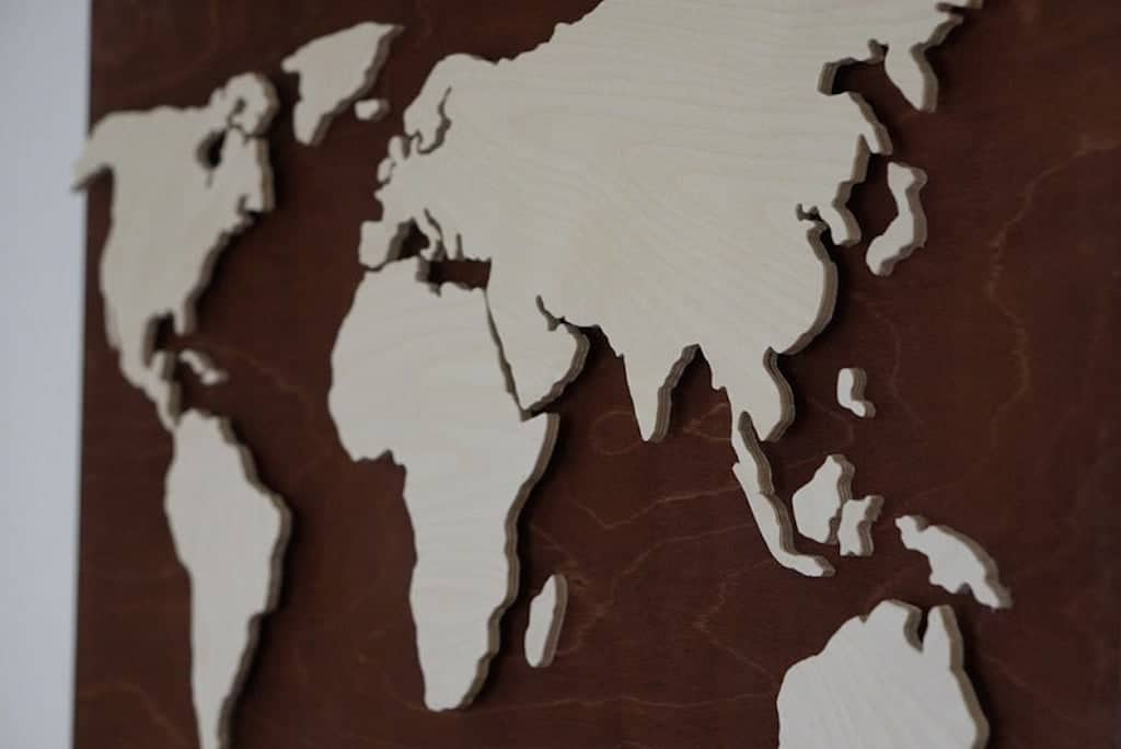 LED map of the world on wood