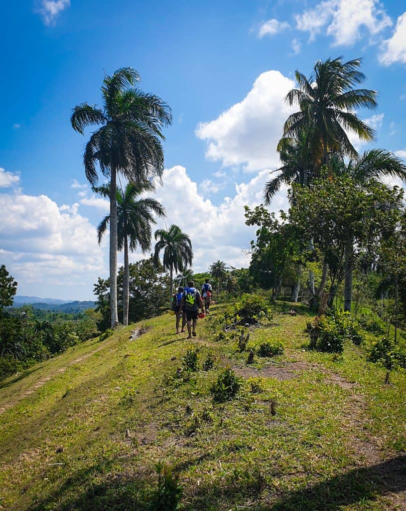 people hiking along a green path with palm trees on either side in jamao al Norte in the Dominican Republic
