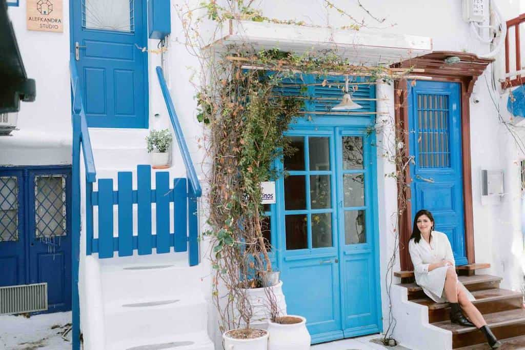 mykonos villa rentals in greece with blue and white decor